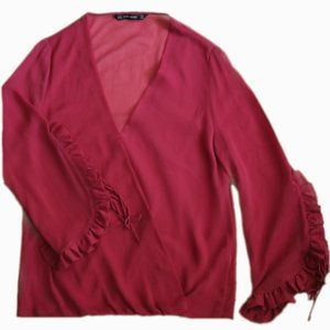 ZARA RED WRAP BLOUSE WITH RUFFLED SLEEVES